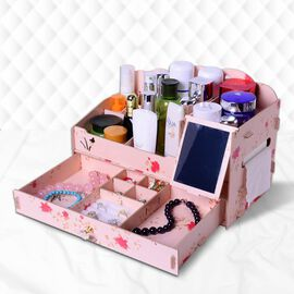 DIY Jewellery and Cosmetic Organiser with Mirror (36x19.5x23cm) - Peach Colour