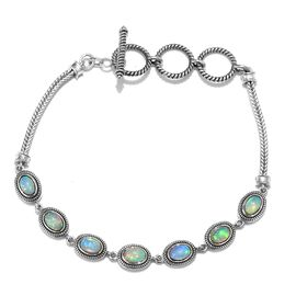 Ethiopian Welo Opal (Ovl 6x4mm) Bracelet (Size 7 with 1 inch Extender)  in Sterling Silver 3.00 Ct,
