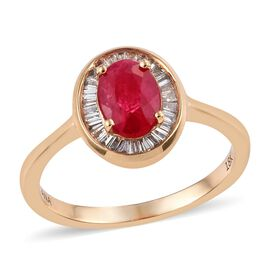 ILIANA 18K Yellow Gold AAA Burmese Ruby (Ovl), Diamond (SI/G-H) Ring 1.00 Ct.