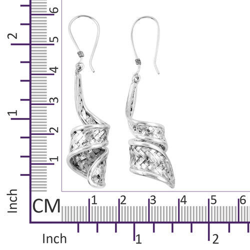 Royal Bali Collection Sterling Silver Bamboo Weave Hook Earrings Silver wt 8.00 Gms.