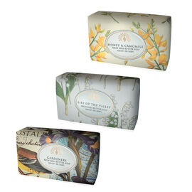THE ENGLISH SOAP COMPANY- Vintage Italian wrapped 3 x 200g Soap Collect Eclectic -  Lily of the Valley, Gardeners and Honey and Chamomile- Estimated delivery within 5-7 working days