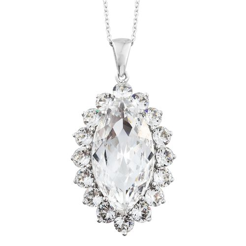 J Francis Crystal from Swarovski - White Colour Crystal (Mrq 32X17 mm) Pendant with Chain in Platinum Overlay Sterling Silver, Silver wt 8.38 Gms. (Equivalent Ct. wt 27.500)