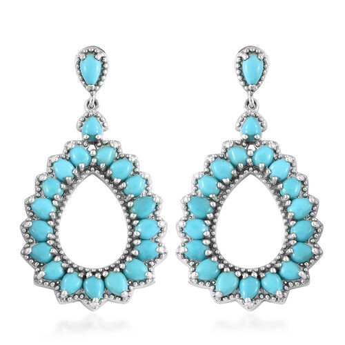 Arizona Sleeping Beauty Turquoise (Pear) Drop Earrings (with Push Back) in Platinum Overlay Sterling