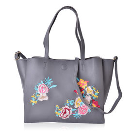 Multi Colour Floral Embroidered Crossbody Bag with Shoulder Strap (Size 28.7X19X7 Cm)