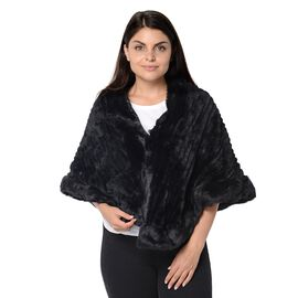 Stripe Pattern Super Soft Faux Fur Kimono with Fluffy Border (Size 65x55 Cm) - Black