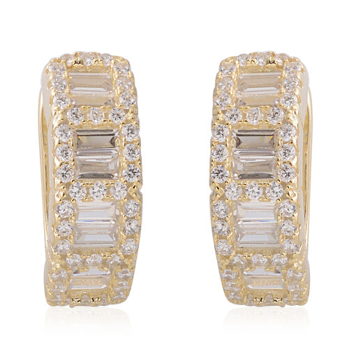 ELANZA Simulated Diamond Hoop Earrings (with Clasp Back) in Yellow Gold Overlay Sterling Silver, Silver wt 4.50 Gms.