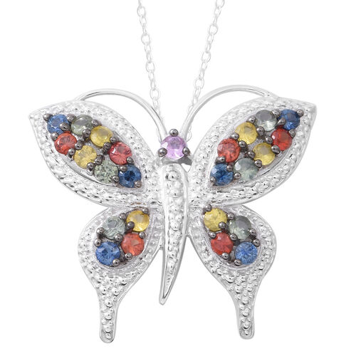Designer Inspired-Rainbow Sapphire Butterfly Pendant with Chain in Rhodium Plated Sterling Silver 2.