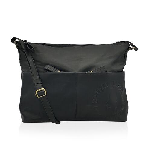 MCS Country Classics: 100% Genuine Leather Handbag - Black