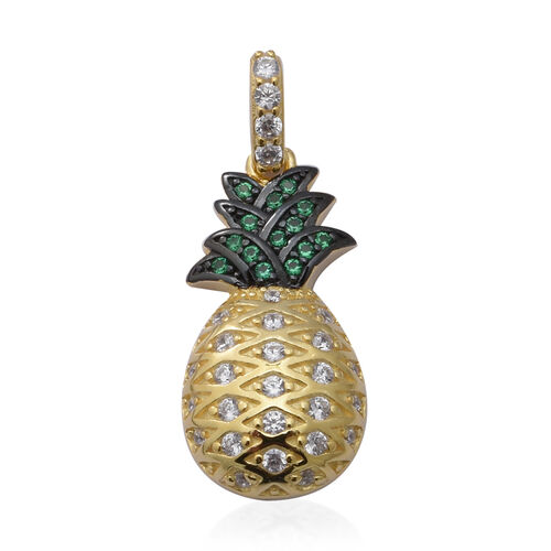 ELANZA AAA Simulated Diamond and Simulated Emerald Pineapple Pendant in Black Plating, Yellow Gold a