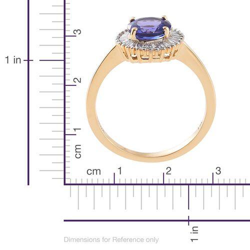 ILIANA 18K Yellow Gold AAA Tanzanite (Rnd 1.30 Ct), Diamond (SI/G-H) Ring 1.500 Ct.