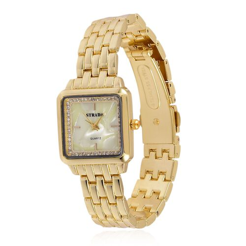 STRADA Japanese Movement MOP Dial with White Austrian Crystal Water Resistant Watch in Gold Tone with Stainless Steel Back