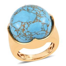 One Time Deal- Blue Mojave Turquoise (Rnd 18 mm) Ring (Size M) in 18K Yellow Gold Plated 23.000 Ct.