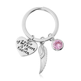 Charms De Memoire Sterling Silver Simulated Pink Tourmaline, Angel Wing and Heart Charms in Key Chai