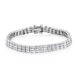 5 Carat Diamond Tennis Design Bracelet in Platinum Plated Sterling Silver 7.5 Inch