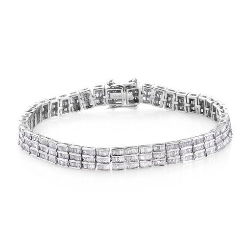5 Carat Diamond Tennis Design Bracelet in Platinum Plated Sterling Silver 7.5 Inch