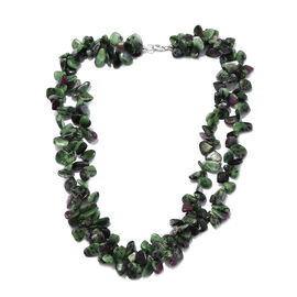 100% Natural Ruby Zoisite 2 Layer Necklace in Sterling Silver 580 Ct