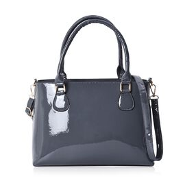 Metallic Slate Colour Tote Bag with Detachable Shoulder Strap and Zipper Closure (Size 48x24x11.5 Cm