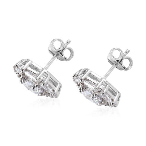 J Francis Platinum Overlay Sterling Silver Stud earrings (with Push Back) Made with SWAROVSKI ZIRCONIA 5.31 Ct.