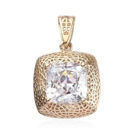 J Francis - 9K Yellow Gold Solitaire Pendant Made with SWAROVSKI ZIRCONIA 2.50 Ct.
