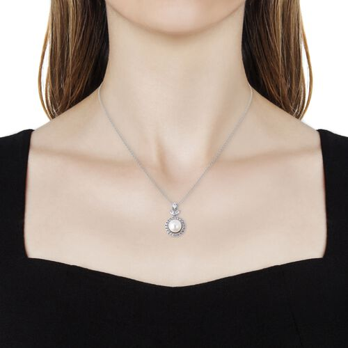 White South Sea Pearl (Rnd), Natural White Cambodian Zircon Pendant With Chain (Size 18) in Rhodium Overlay Sterling Silver