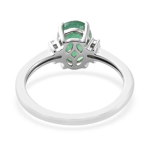 9K White Gold AA Kagem Zambian Emerald (Ovl) Diamond Ring 1.100 Ct.