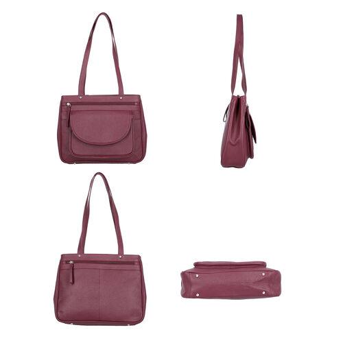 Super Soft 100% Genuine Nappa Leather Multi-Compartment Shoulder Bag in Burgundy (29x7.5x23cm)