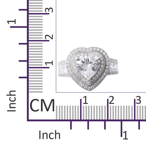 ELANZA Simulated Diamond (Hrt) Heart Ring in Rhodium Overlay Sterling Silver , Silver wt 5.30 Gms