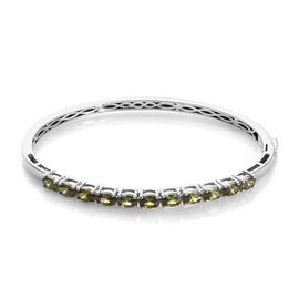 AA Simulated Peridot Stacker Bangle in Platinum Plated 7.5 Inch
