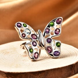 Rachel Galley Flutter (Butterflies) Collection - Rhodolite Garnet, Swiss Blue Topaz, Russian Diopside and Amethyst Ring in Rhodium Overlay Sterling Silver 2.31 ct, Silver wt. 10.00 Gms