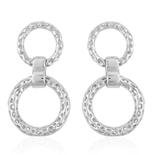 RACHEL GALLEY Rhodium Plated Sterling Silver Lattice Circle Earrings (with Push Back), Silver wt 8.68 Gms.