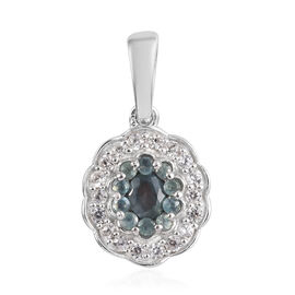 Narsipatnam Alexandrite and Natural Cambodian Zircon Cluster Pendant in Platinum Overlay Sterling Si