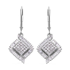9K White Gold SGL Certified Diamond (Bgt and Rnd) (I3/G-H) Lever Back Earrings 1.00 Ct.