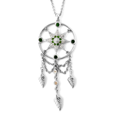 LucyQ Russian Diopside (Rnd), Natural Cambodian Zircon and Citrine Dream Catcher Pendant with Chain