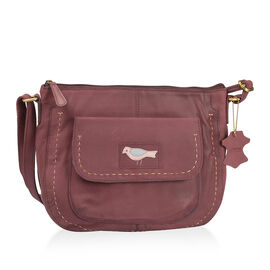 Genuine Leather RFID Blocker Burgundy Colour Sling Bag with Adjustable Shoulder Strap (Size 32X26X10 Cm)