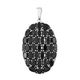 Boi Ploi Black Spinel (Ovl) Cluster Pendant in Platinum Overlay Sterling Silver 33.000 Ct, Silver wt 11.09 Gms.