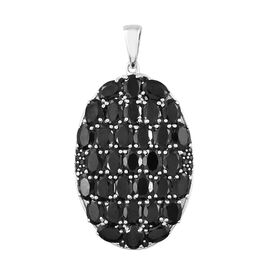 Boi Ploi Black Spinel (Ovl) Cluster Pendant in Platinum Overlay Sterling Silver 33.000 Ct, Silver wt
