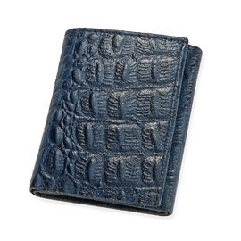 100% Genuine Leather Croc Embossed RFID Protected Trifold Unisex Wallet (Size 23x10 Cm) - Navy Blue