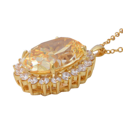 Signature Collection- Swiss Star Simulated Canary Yellow Diamond  Like (Ovl 28x20mm) Pendant with Chain (Size 30) in Sterling Silver