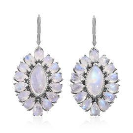 Sri Lankan Rainbow Moonstone (Mrq) Drop Lever Back Earrings in Platinum Overlay Sterling Silver 23.7