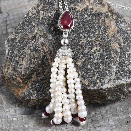 GP  African Ruby, Freshwater Pearl and Blue Sapphire Tassel Pendant Pendant With Chain (Size 18) in Platinum Overlay Sterling Silver