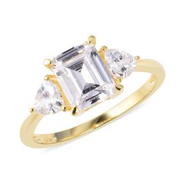 ELANZA Simulated Diamond (Emerald Cut) Ring in Yellow Gold Overlay Sterling Silver