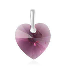 J Francis - Crystal from Swarovski Amethyst Colour Crystal Heart Pendant in Sterling Silver