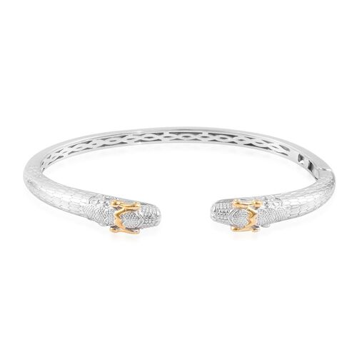 Snake Head Magnetic Cuff Bangle in Platinum and Yellow Gold Plated 7.5 Inch