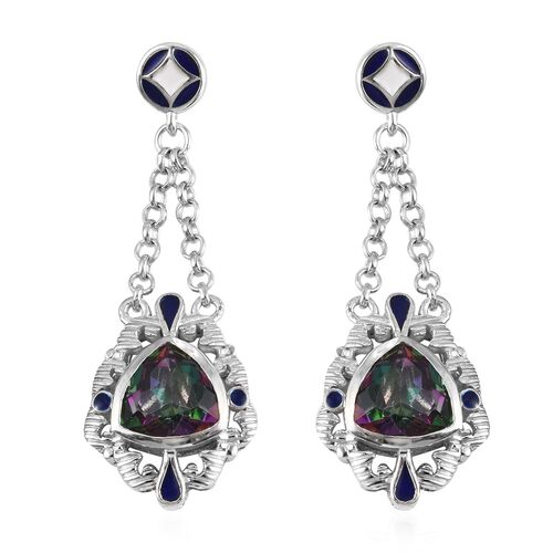 Mystic Topaz Dangle Earrings in Platinum Over Sterling Silver 6.00 Ct, Silver wt. 5.50 Gms