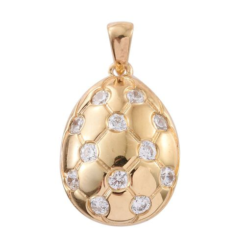 J Francis - 14K Gold Overlay Sterling Silver (Rnd) Pendant Made with SWAROVSKI ZIRCONIA, Silver wt 3.29 Gms.