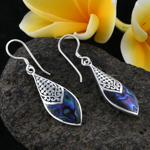 Royal Bali Collection Abalone Shell Hook Earrings in Sterling Silver