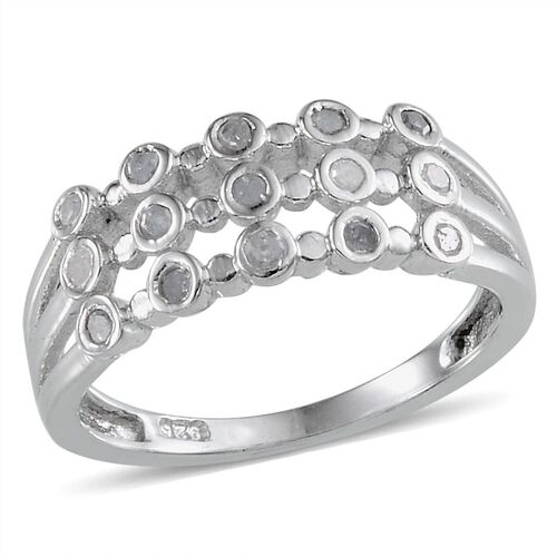 Diamond (Rnd) Ring in Platinum Overlay Sterling Silver 0.200 Ct.