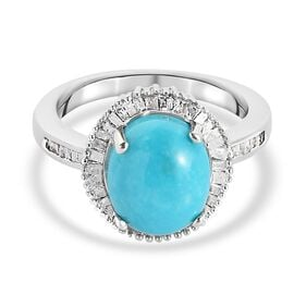 Arizona Sleeping Beauty Turquoise and Diamond Ring in Platinum Overlay Sterling Silver 3.30 Ct.