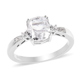ELANZA Simulated Diamond Ring in Platinum Overlay Sterling Silver