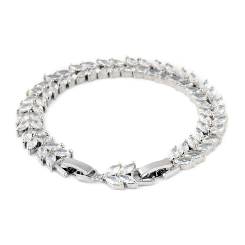 Simulated Diamond Bracelet (Size 6 with 1 inch Extender) in Silver Tone